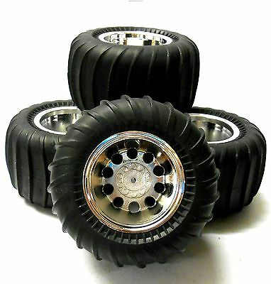 HS211500FR 1/10 Off Road Compatible Tamiya Caravan RC Wheels Tyres Chrome x 4