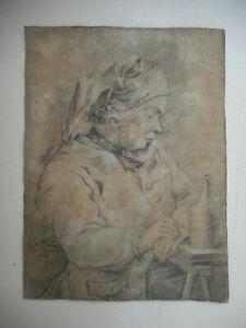 Dessin-ancien-du-XVIII-Date-1764-et-signe