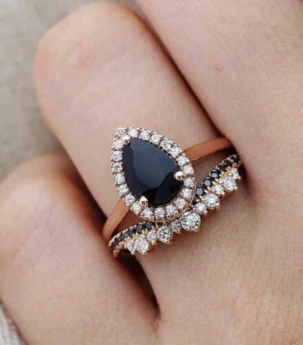 3Ct Pear Cut Black Diamond Halo Engagement Bridal Set Ring 14K Rose Gold Finish