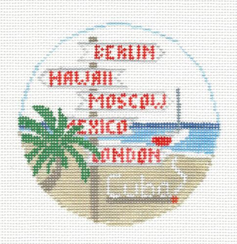 ISLAND of CUBA handpainted Needlepoint Canvas Ornament by Kathy Schenkel RD.