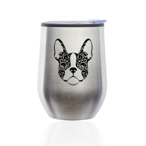 Stemless Wine Tumbler Coffee Travel Mug Glass Cup w// Lid French Bulldog Floral