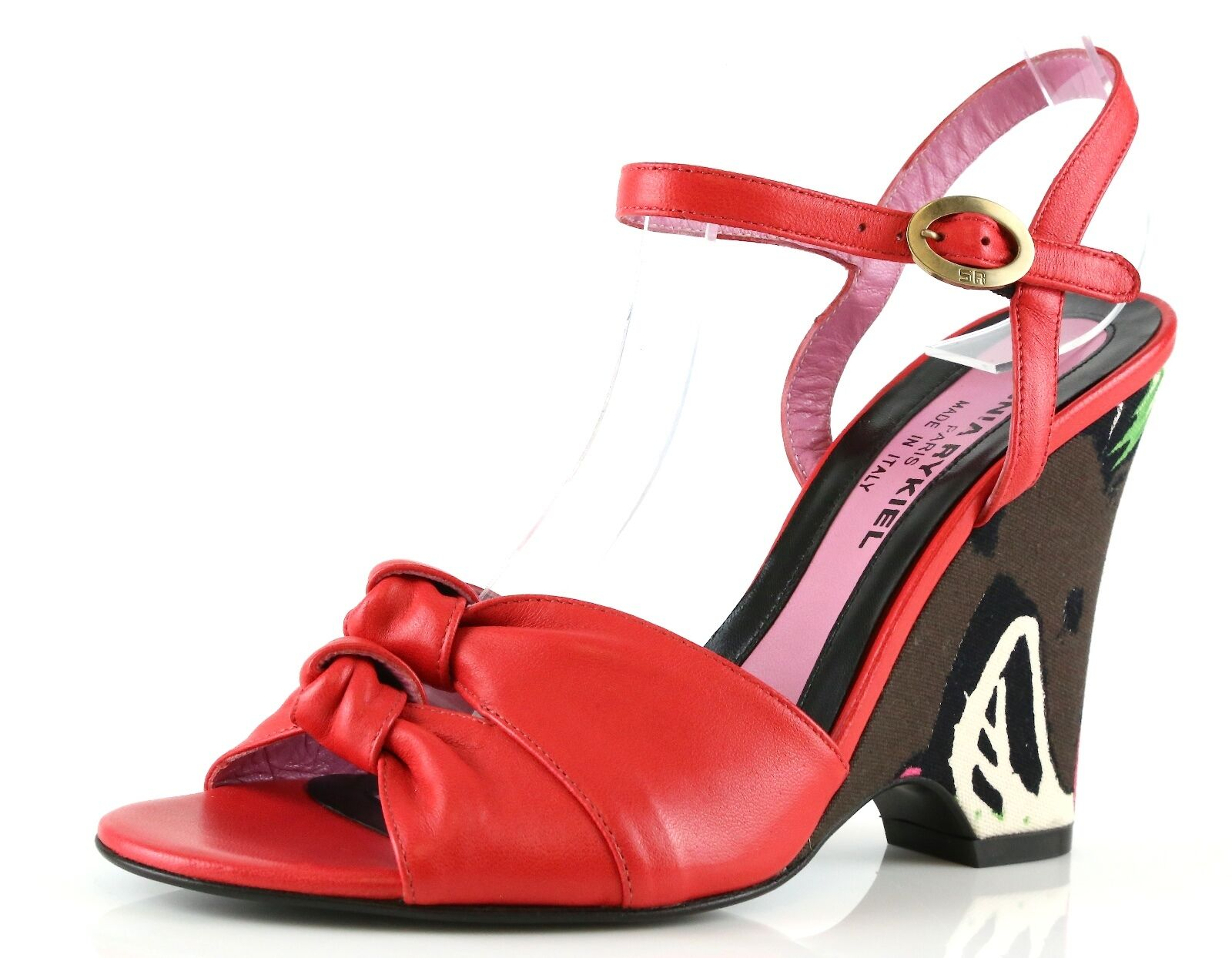 Sonia Rykiel NAPPA Red Leather Ankle Strap Wedge Sandals 8881 Size 36 EU NEW 495