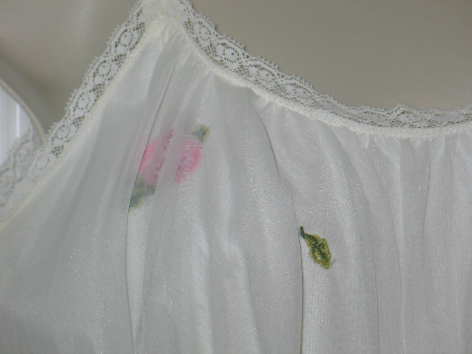 Vintage LAROS Slip  Lace Night Gown  1950s 1960s Full Slip Night Gown  White