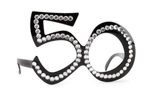 Black 50th Birthday Novelty Fun Party Clear View Sunglasses Bling Age Glasses