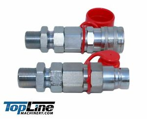 TL20#8 JIC Thread Flat Face Quick Connect Hydraulic Coupler 1//2 body size Bobcat Skid Steer Loader Coupling with Dust Caps