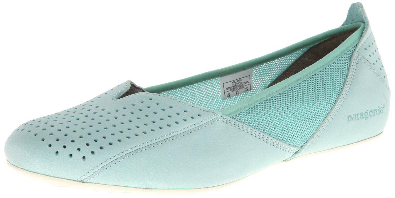 PATAGONIA Maha BALLET Perf FLAT Slip-On LEATHER Breathe Schuhe Aqua Blau Damens sz