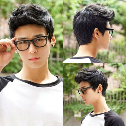 Baoblaze Stylish Men's Black Short Quiff Hair Boy Full Wig Cosplay Party