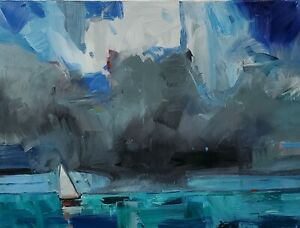 JOSE TRUJILLO Oil Painting IMPRESSIONISM 18X24 SEASCAPE CLOUDS COLLECTIBLE ART