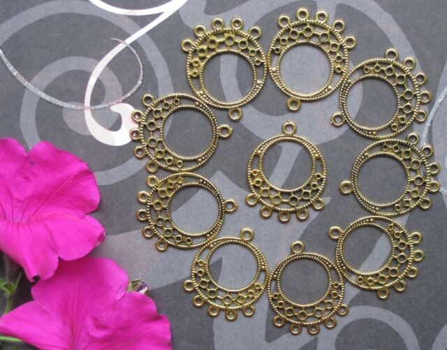 10 Pcs Goldtone Earring Findings Antique Style Chandelier Boho Dangle Components