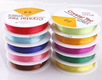 3Pcs Crystal Stretch Elastic Cord 10Colors Dia 0.6/0.8mm For Craft Approx 15m