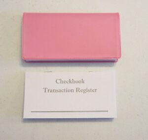 1 pink vinyl check book cover 5 checkbook transaction registers ebay