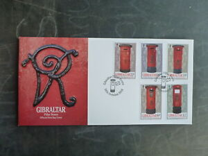 GIBRALTAR-2016-PILLAR-BOXES-SET-5-STAMPS-FDC-FIRST-DAY-COVER