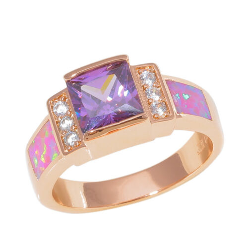 Pink Opal Amethyst Zircon 10KT plaqué or rose pour femme bijoux ring Sz 6-8 OJ9468