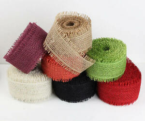 "FancySupply 2.5"" Natural Burlap Ribbon Fringe Edge 10 yard roll - Choose Colors"