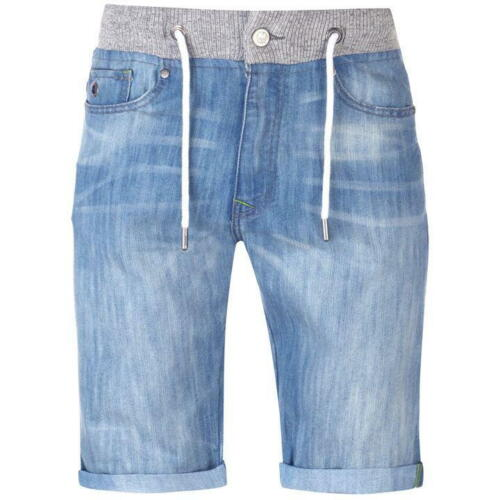 Mens No Fear Turned Up Hem Double Waist Denim Shorts Sizes from S to XXXL