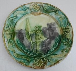 Assiette Barbotine XIXe Jeanne d'Arc 6HXx0Wot-09155750-629482541