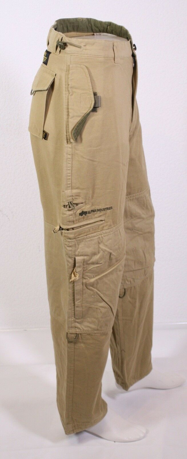 Kj2-36 ALPHA INDUSTRIES da Uomo Cargo Army Army Army Safari Field Pant Pantaloni Beige w30 NUOVO 722957