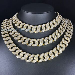 19mm Big Lab Diamond Thick Iced Out Gold Plated 14k Cuban Choker Chain Necklace Ebay