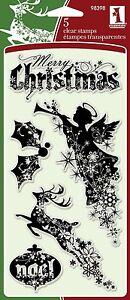 Inkadinkado-Clear-Stamps-Christmas-Silhouettes-Xmas-Reindeer-Angel-Noel