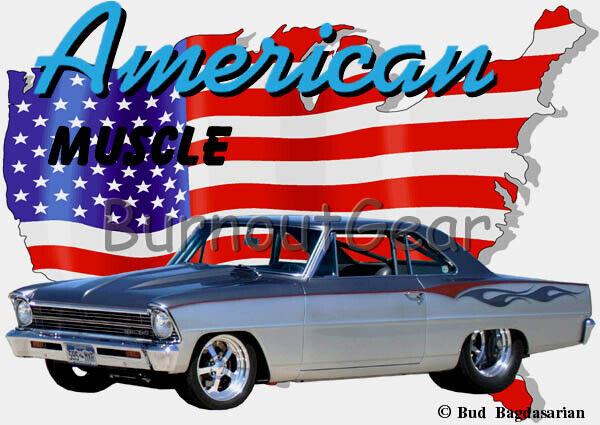 1967 Silver Chevy Nova c Custom Hot Rod USA T-Shirt 67 Muscle Car Tees