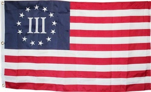 NYLON Betsy Ross III Flag 3x5 ft Embroidered Threeper Nyberg 3 Percent 3/% 600D