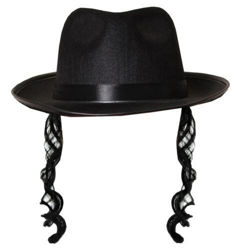 Fedora Nero con ricci BASETTE ebraica Rabbi adulti Costume Vestito