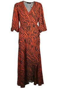 C-amp-A-Yessica-Womens-Orange-Black-Zebra-Animal-Print-Wrap-Long-Midi-Tea-Dress