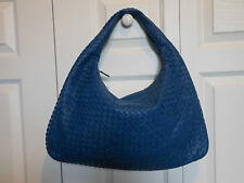 NEW Authentic Bottega Veneta LARGE Miniode Leather Hobo Shoulder Bag Tote, Blue