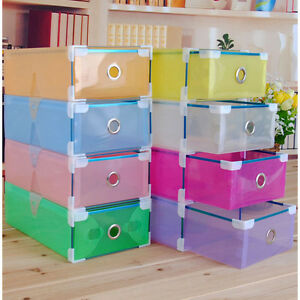 Shoes-Storage-Box-Clear-Drawer-Transparent-Home-Organizers-Stackable-Boxes-New