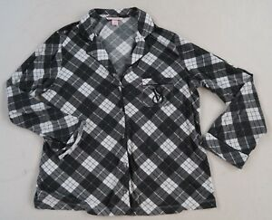 d46c9a0a025eb Victoria's Secret Women's L/S Button Down Black & White Plaid PJ ...
