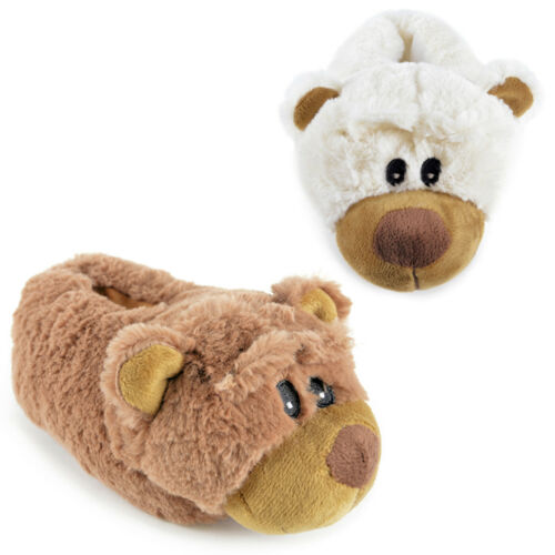 KIDS GIRLS NOVELTY 3D BEAR SLIPPERS GIFT UK9-3 SOFT FAUX FUR CREAM BROWN NEW