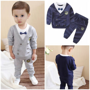 2pcs-Toddler-Kids-baby-boys-tracksuit-set-pullover-top-pants-outfits-gentleman