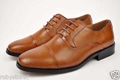 Men's La Milano Tan Genuine Leather Dress Shoes Lace Up Oxfords Medium(D,M) F591