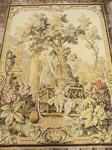 Ancienne Tapisserie Mecanique Scene Au Jardin Ange Amour Mythique 1
