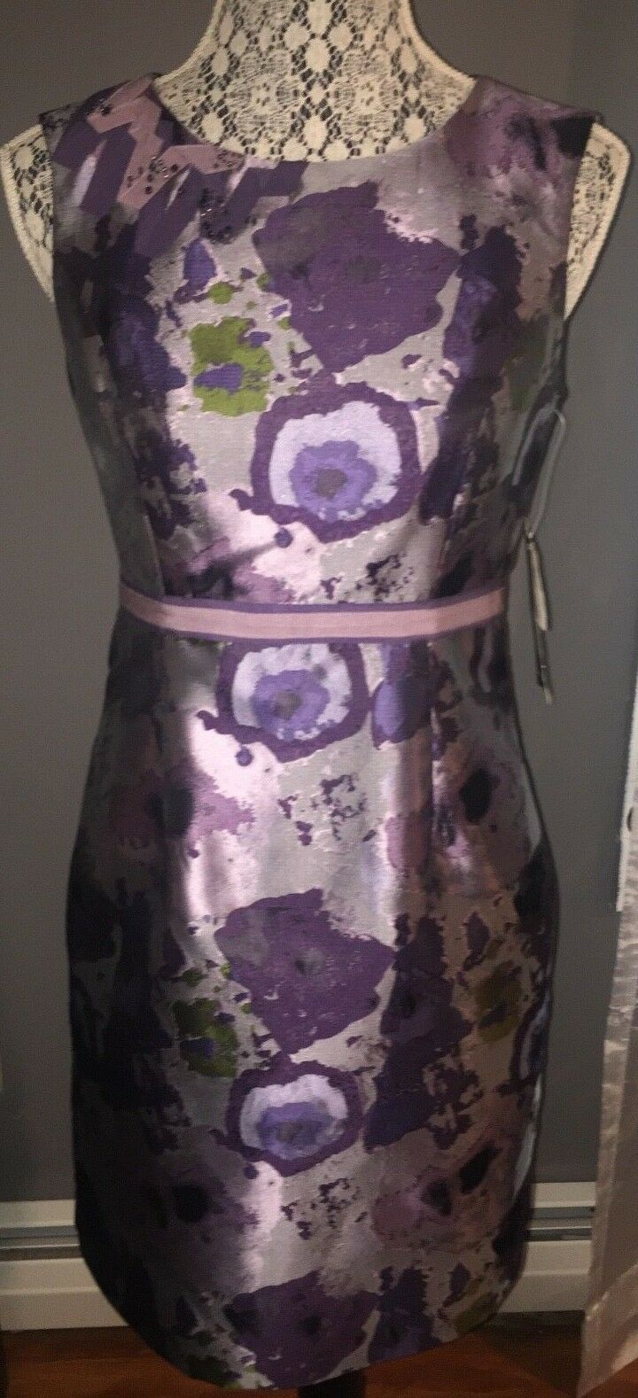 NWT Nine West Purple Floral Shift Dress Women's Size 4