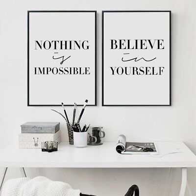 Black And White Inspirational Quotes Canvas Art Print Home Decor