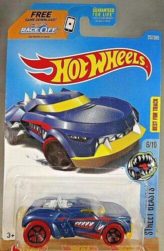 2017 Hot Wheels #257 Street Beasts 6//10 GROWLER Blue w//Red Wheels Black 5 Spokes