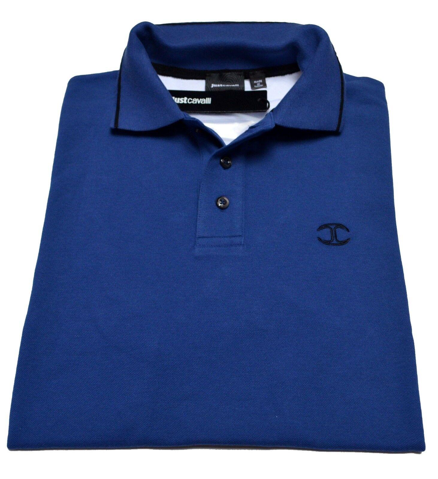 Polo Roberto Cavalli Class Logo Men Fashion T-shirt Tee Blau Mens 100% genuine
