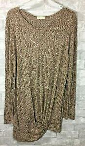 NEW Flamingo Urban Tunic Top Brown Women's Size Medium Long Sleeve Shirt Tied