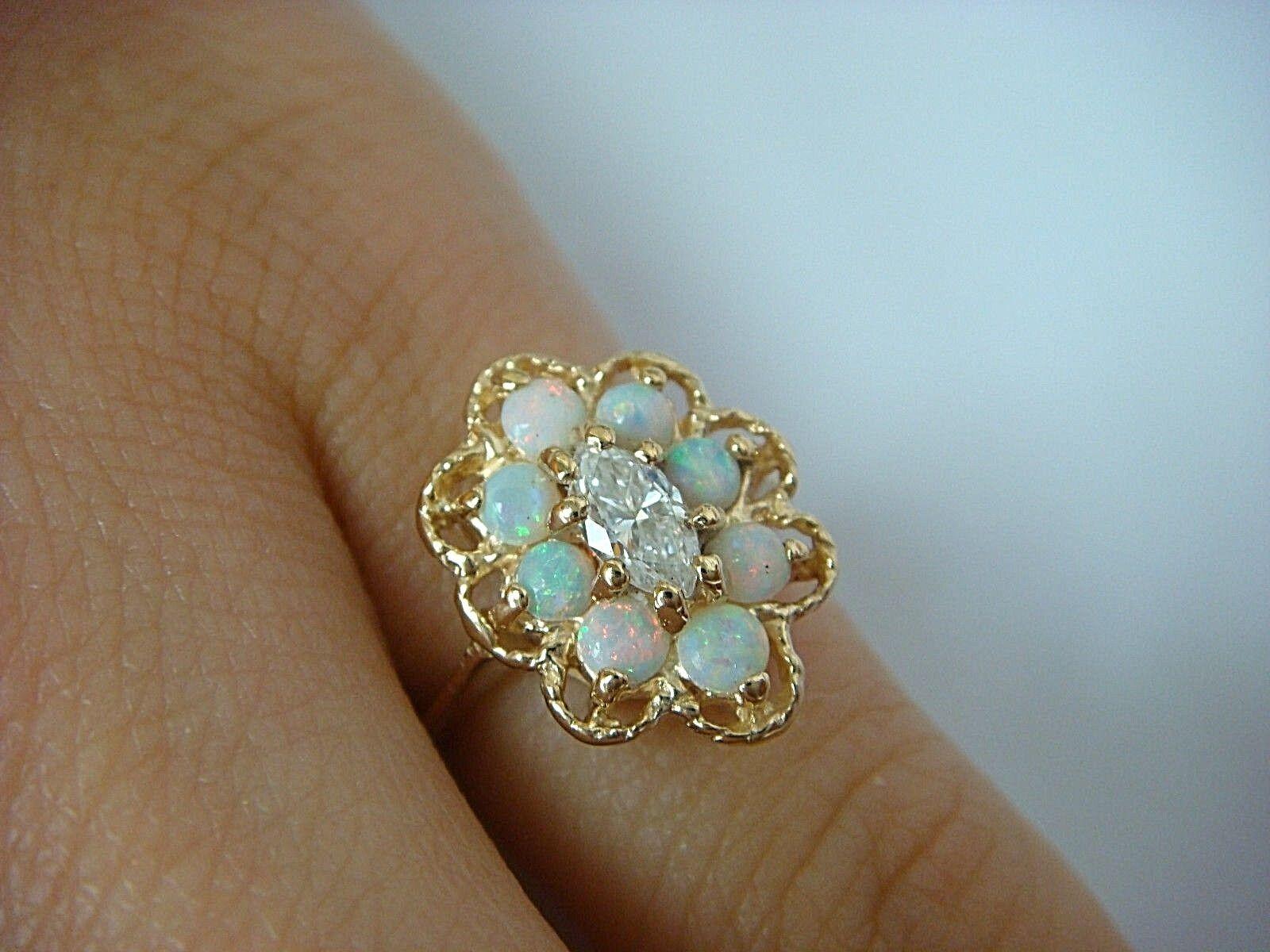 14K YELLOW gold 0.20 CT MARQUISE DIAMOND & OPALS FLOWER DESIGN LADIES RING