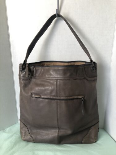 EILEEN WEST Leather Hobo Shoulder Bag - XL 16x16 I