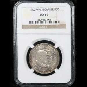 1952-p-Booker-T-Washington-Carver-Nicely-Toned-Silver-Commemorative-MS66-NGC