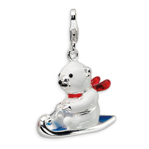 Polar Bear on Sled Charm 3D Enameled .925 Sterling Silver Click On Amore La Vita