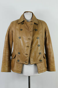 Massimo Dutti Woman Doppel Knopfleiste Leder Braun Jacke Größe S