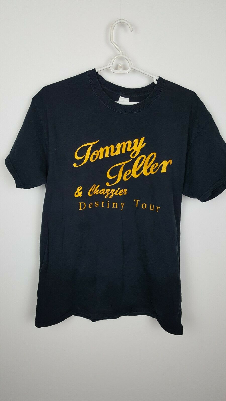 Tommy Teller Chazzier Black Yellow Vintage T Shirt Band Tee Mens Large SOA?