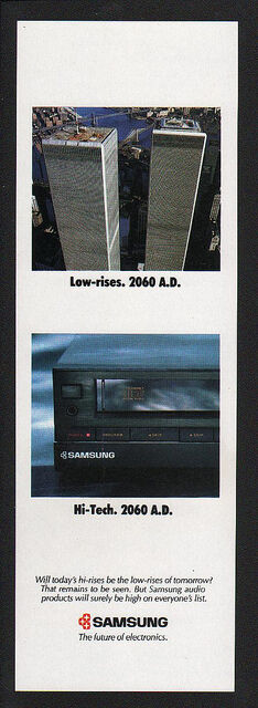 1988 SAMSUNG Stereo -  MANHATTEN - TWIN TOWERS - WORLD TRADE CENTER - VINTAGE AD