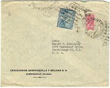 1951 Cervecerias Barranquilla Y Bolivar S.A. Envelope - Barranquilla, Colombia