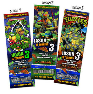 mutant ninja turtles tmnt teenage ticket birthday party invitation, Birthday invitations