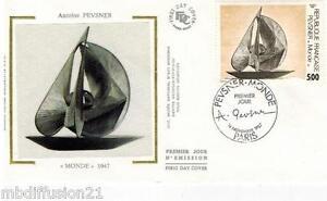 1987-ENVELOPPE-SOIE-FDC-1-JOUR-OEUVRE-D-039-ANTOINE-PEVSNER-TIMBRE-Y-T-2494