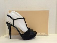 Michael Kors Felicia T-Strap Sandals Heel Patent Leather Suede Black 9.5 M NWB